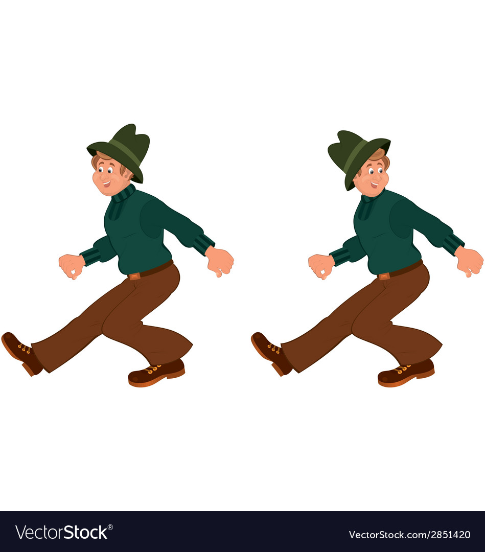 Happy cartoon man walking in green hat vector | Price: 1 Credit (USD $1)