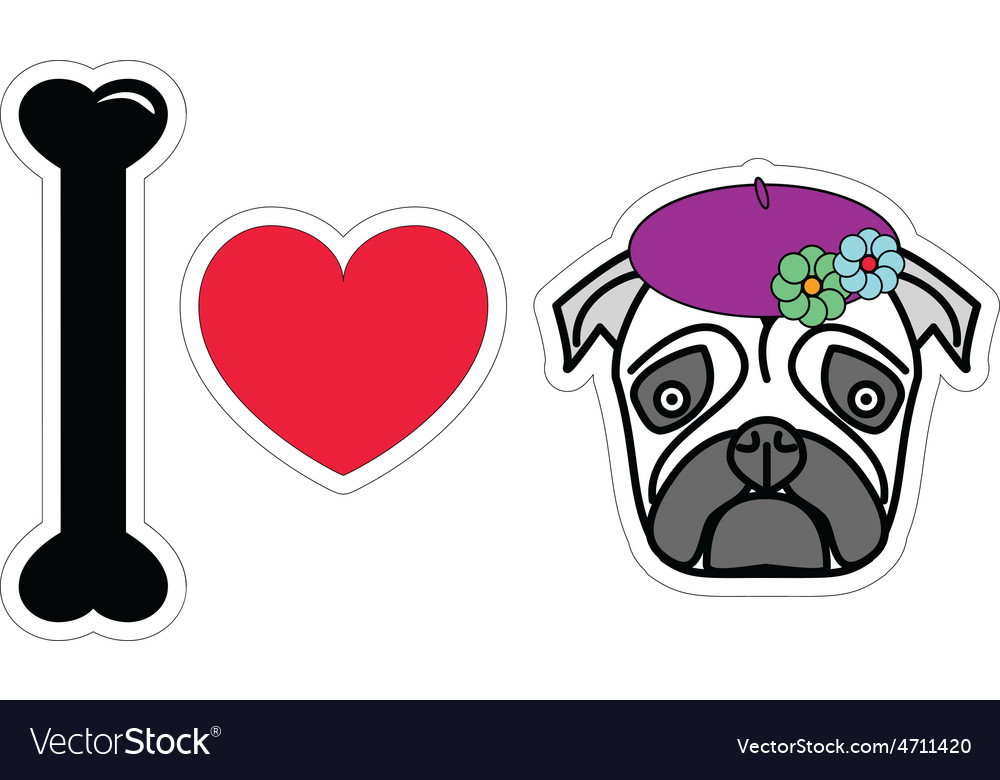 I love pug female with beret and flowers vector | Price: 1 Credit (USD $1)