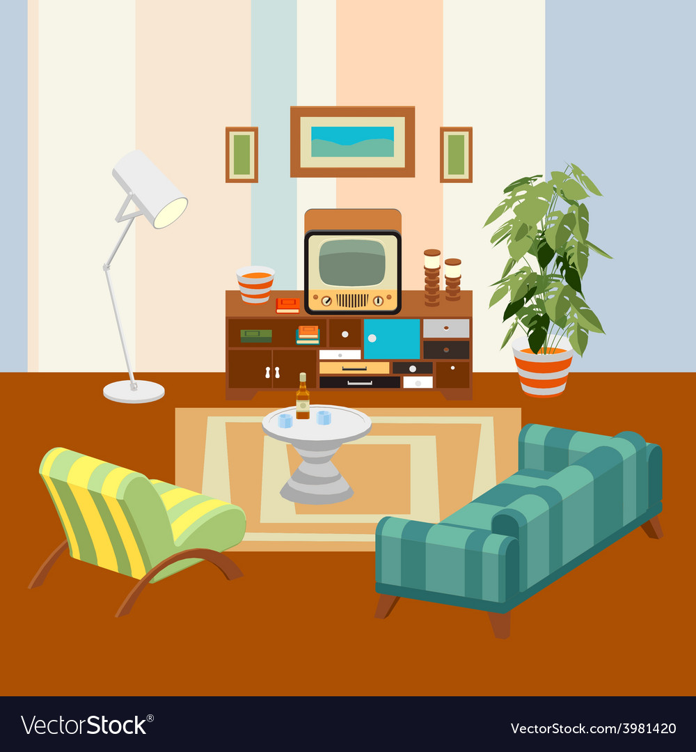 Retro living room vector | Price: 3 Credit (USD $3)