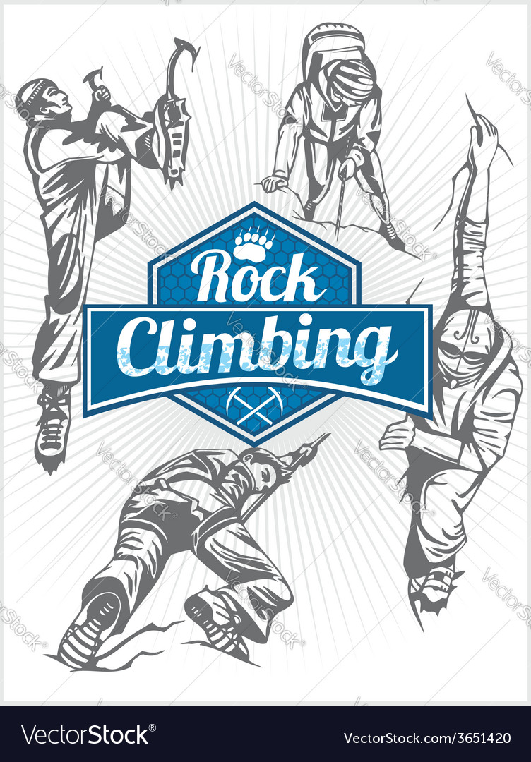 Rock climbing set - emblem and climbers vector | Price: 1 Credit (USD $1)