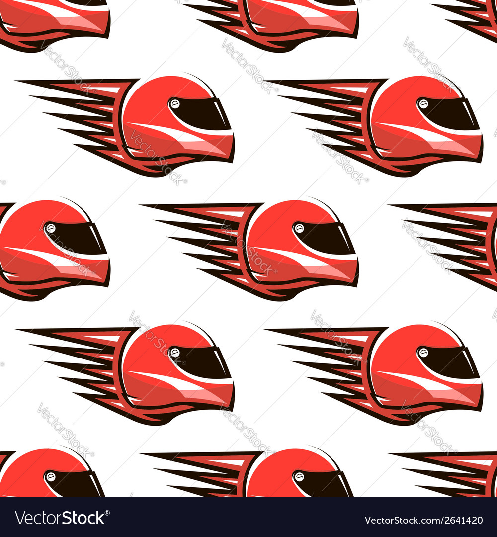 Seamless pattern of red racing helmet with speed vector | Price: 1 Credit (USD $1)
