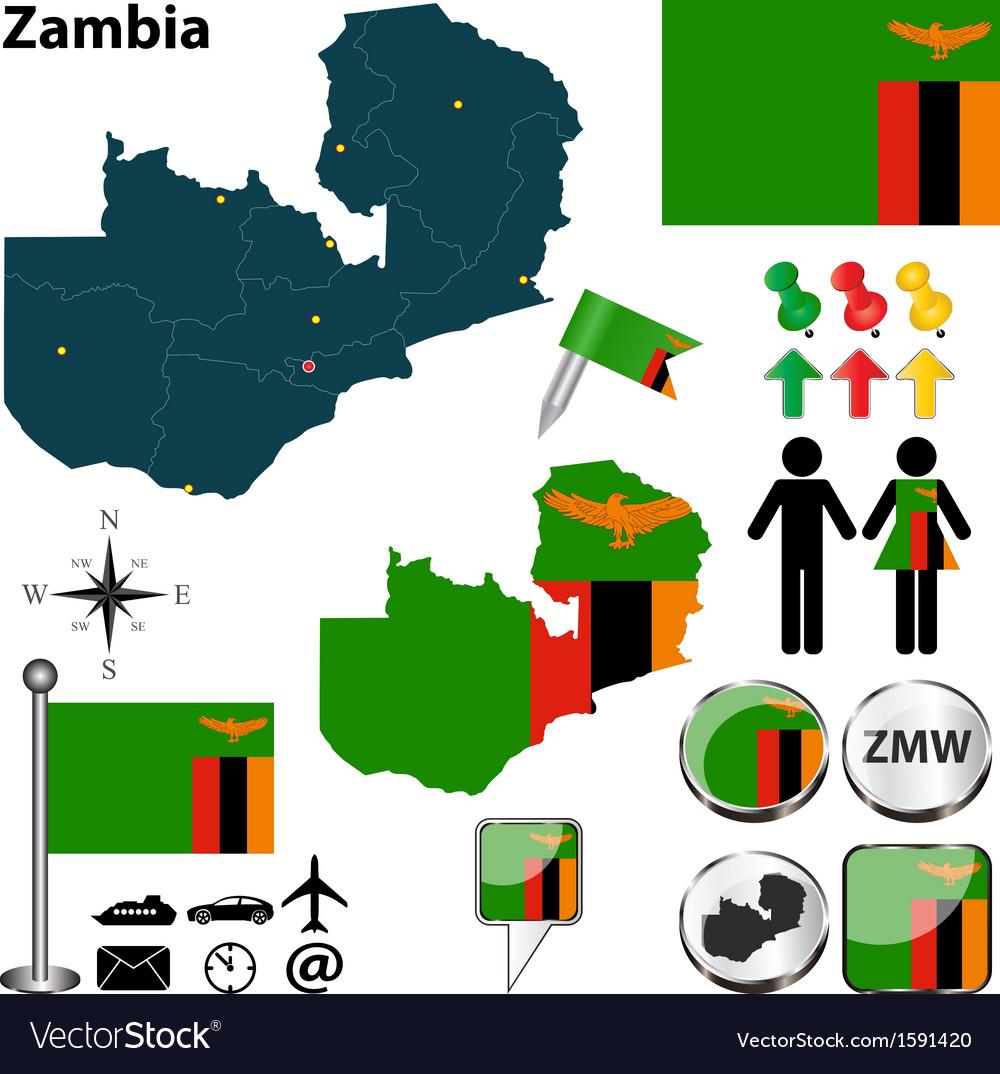 Zambia map vector | Price: 1 Credit (USD $1)