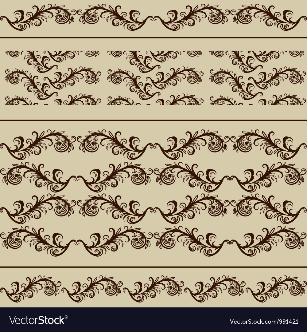 2 vintage borders and 2 seamless patterns vector | Price: 1 Credit (USD $1)