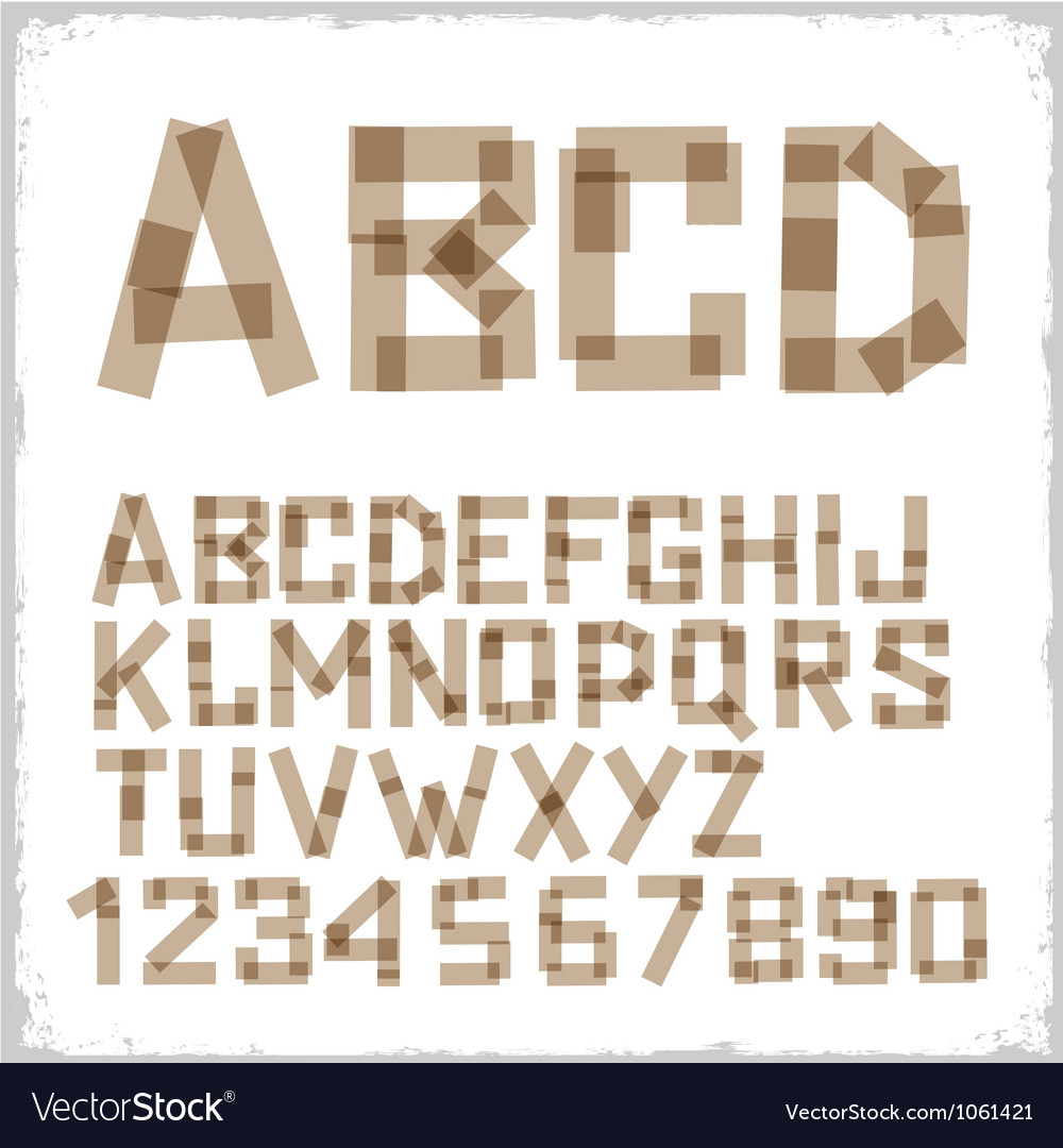 Alphabet letters and numbers made from adhesive vector | Price: 1 Credit (USD $1)