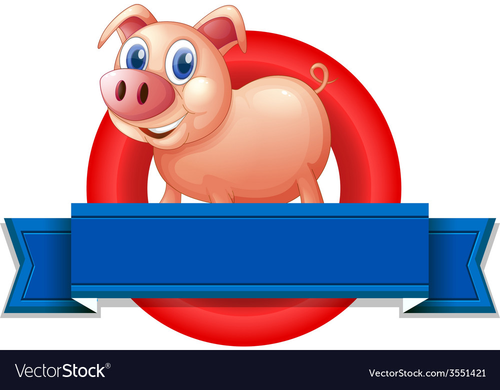 An empty label with a pig vector | Price: 1 Credit (USD $1)