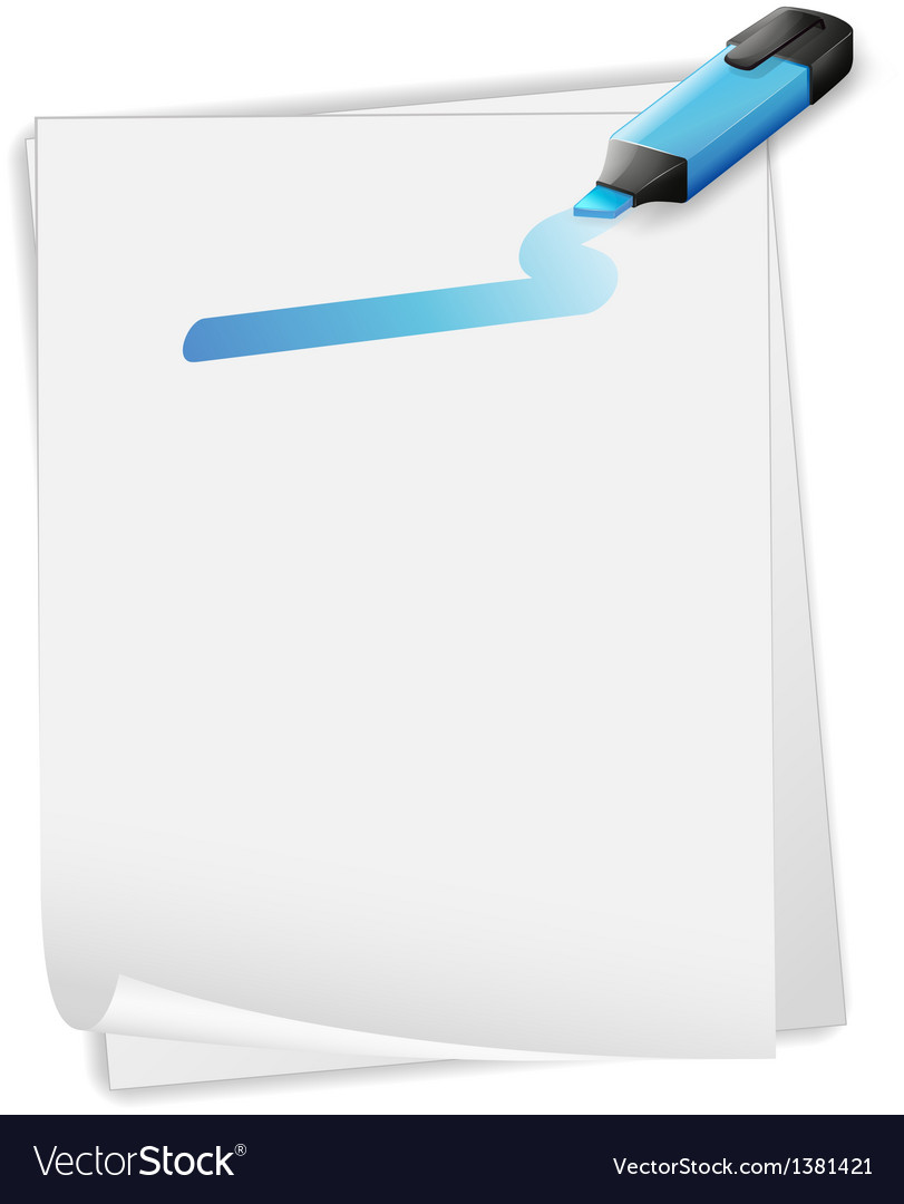 An empty paper with a blue marker vector   Price: 1 Credit (USD $1)