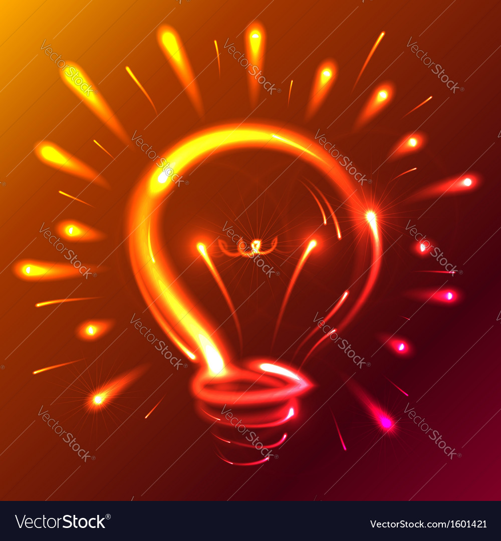 Bright red neon lights abstract bulb vector | Price: 1 Credit (USD $1)