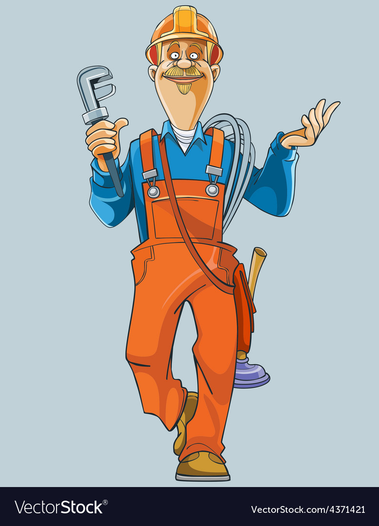 Cartoon plumber in uniform comes with tools vector | Price: 3 Credit (USD $3)