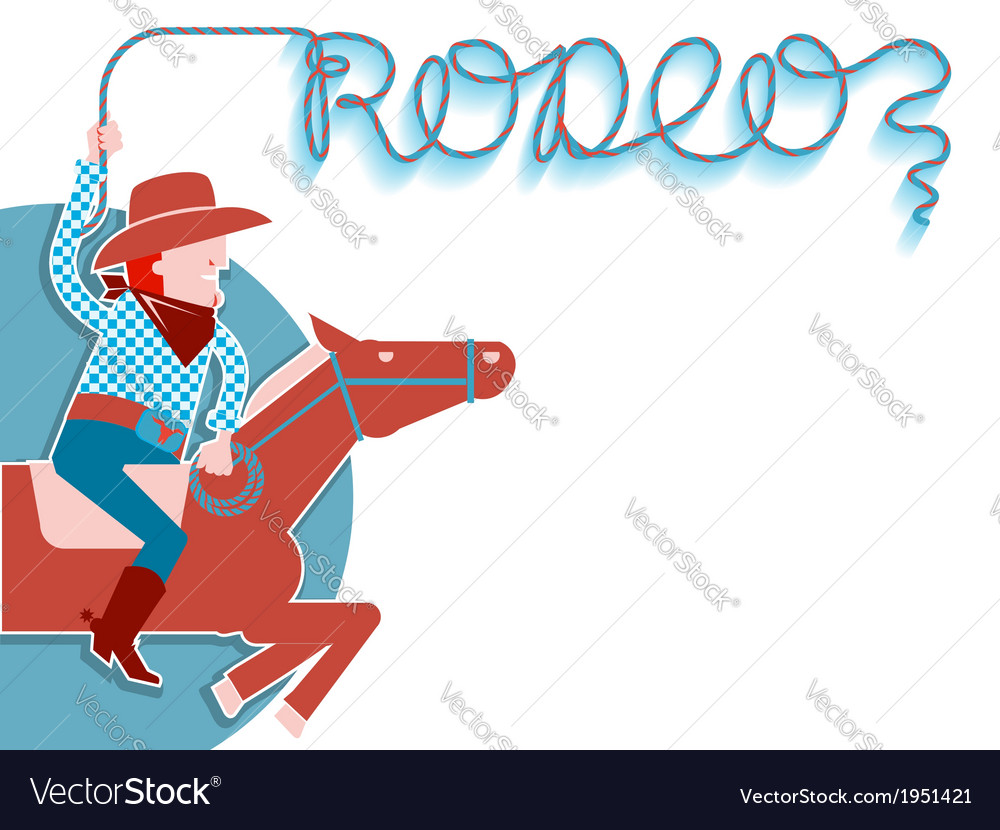 Cowboy with lasso rodeo background vector | Price: 1 Credit (USD $1)
