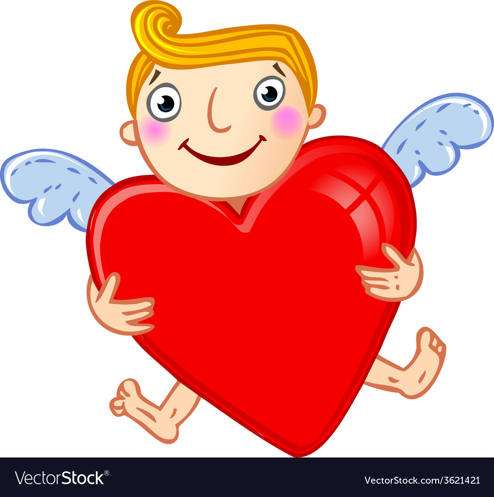 Cupid with heart vector | Price: 1 Credit (USD $1)