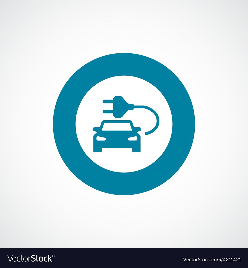 Electro car icon bold blue circle border vector | Price: 1 Credit (USD $1)