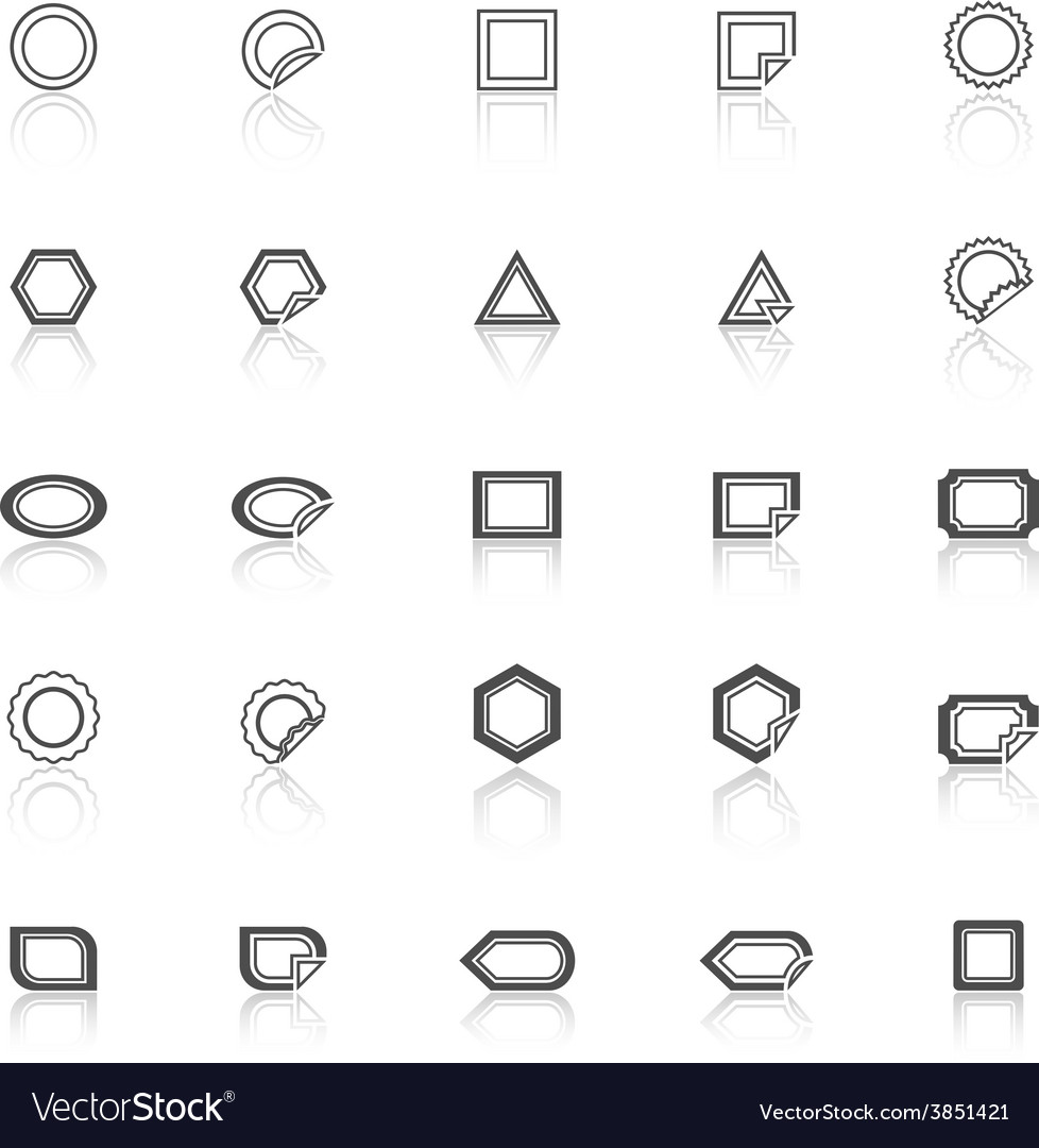 Label line icons with reflect on white background vector | Price: 1 Credit (USD $1)