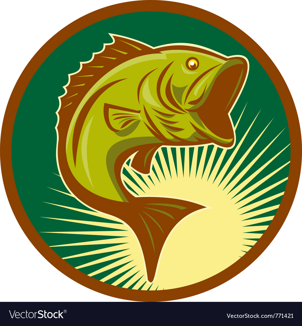 Largemouth bass jumping retro style vector   Price: 1 Credit (USD $1)