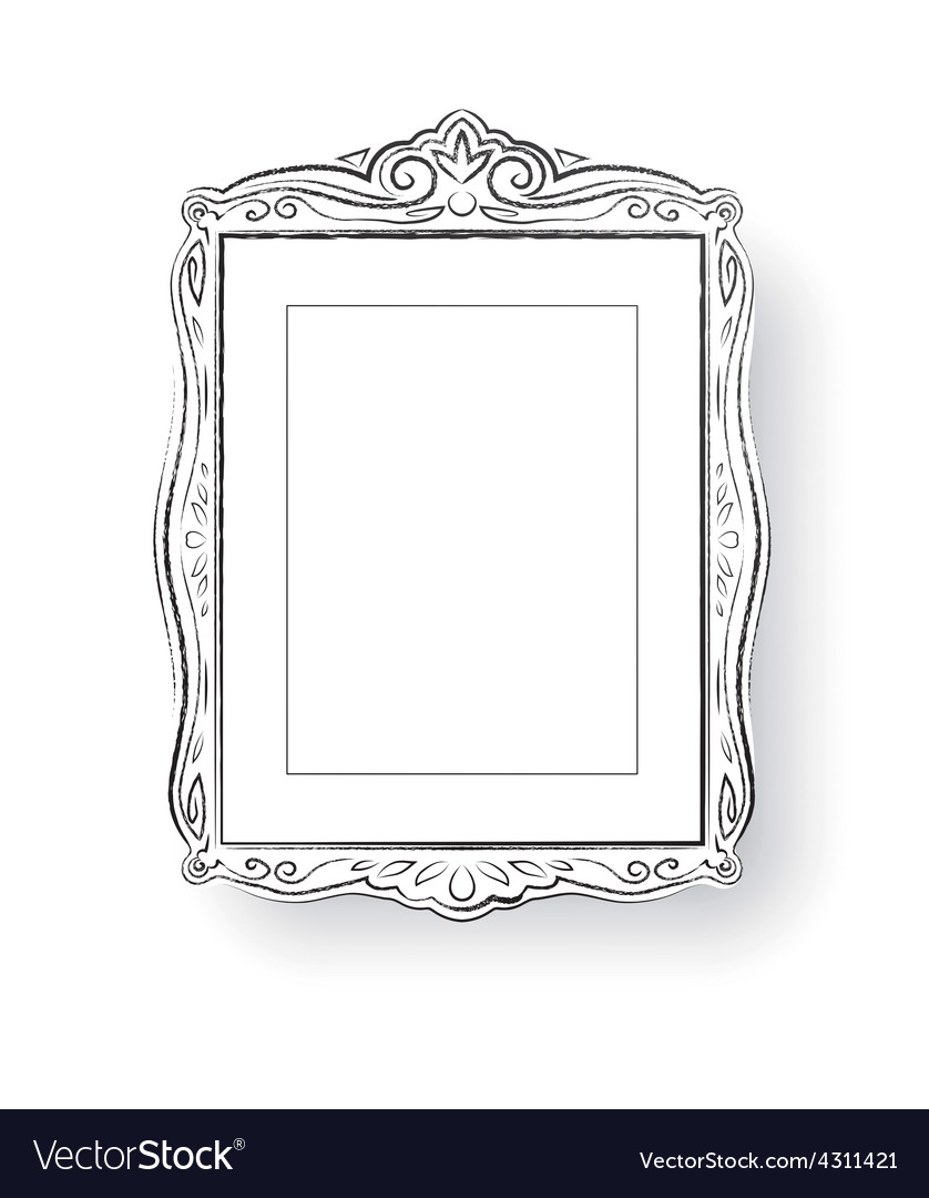 Line art vintage baroque frame vector | Price: 1 Credit (USD $1)