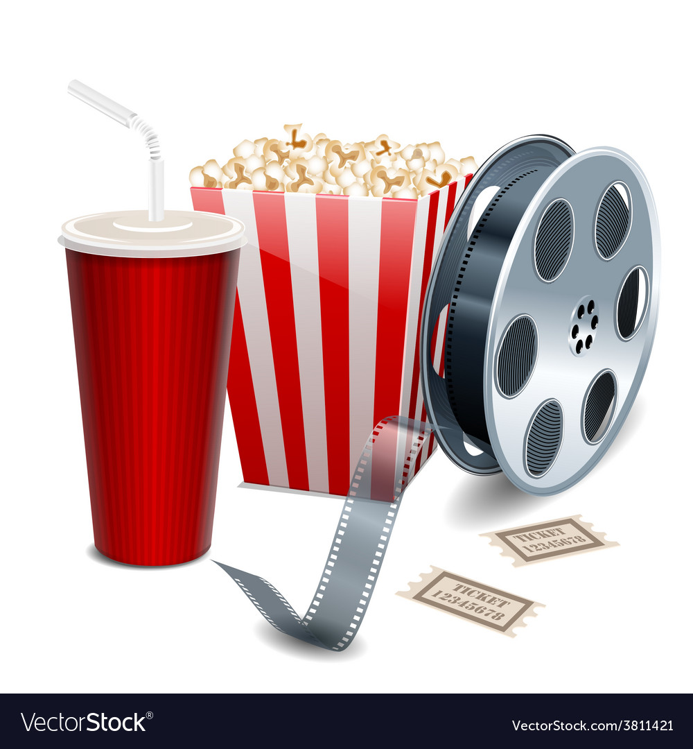 Movie showing with popcorn film reel and drinks vector | Price: 1 Credit (USD $1)