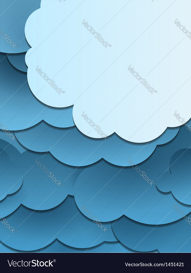 Paper cut clouds background vector | Price: 1 Credit (USD $1)