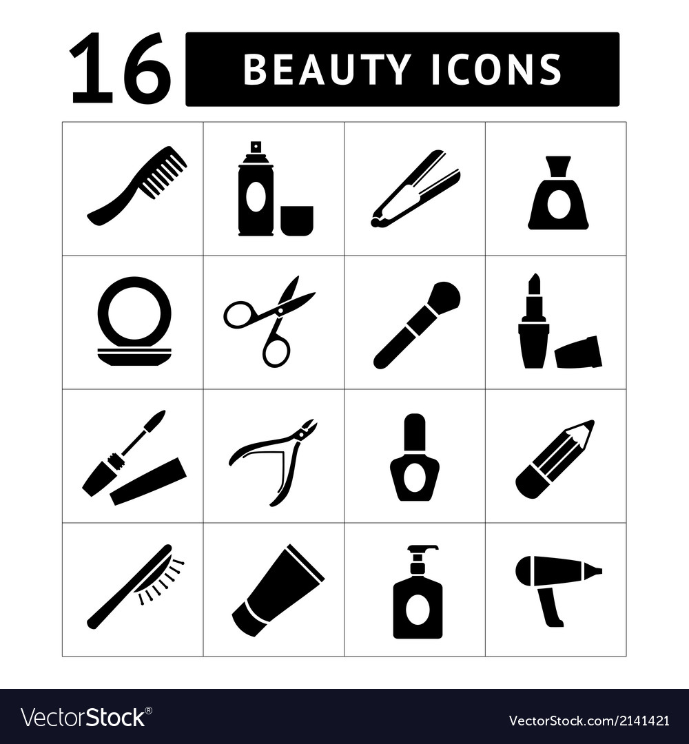 Set icons of beauty and cosmetics vector | Price: 1 Credit (USD $1)