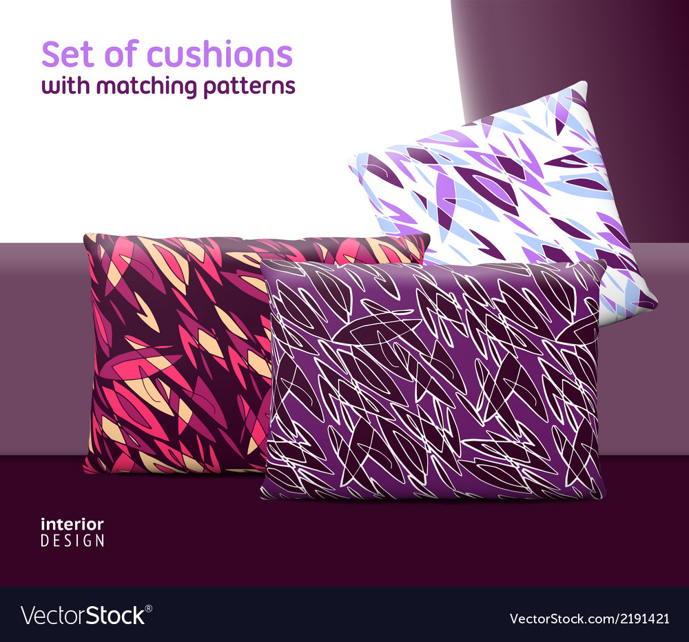 Set of cushions and pillows with matching seamless vector | Price: 1 Credit (USD $1)