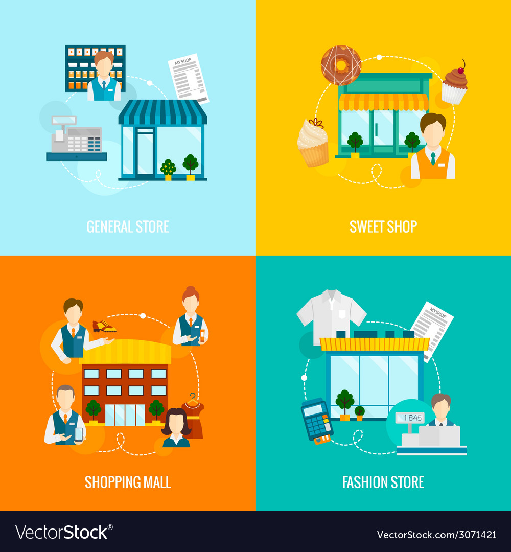 Store building flat set vector | Price: 1 Credit (USD $1)