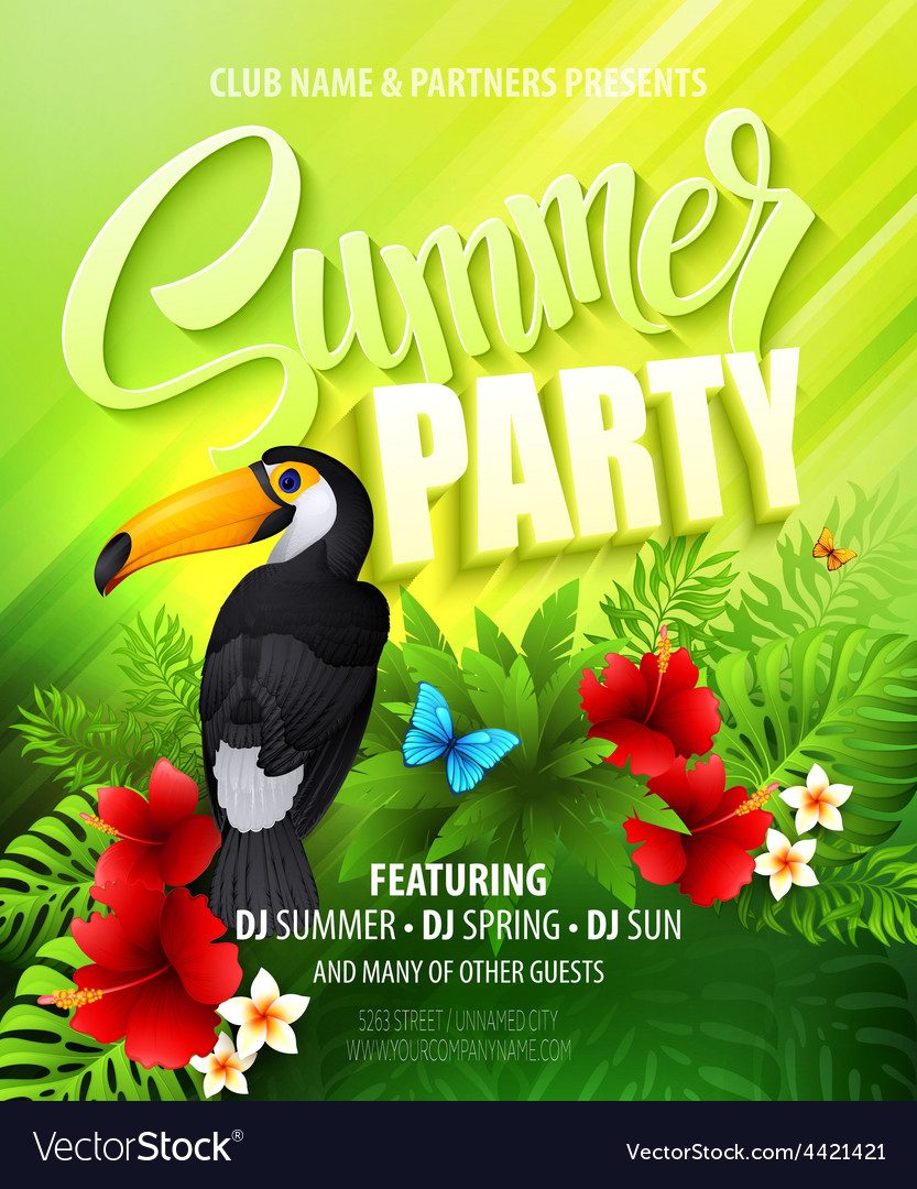 Summer party template poster vector | Price: 5 Credit (USD $5)