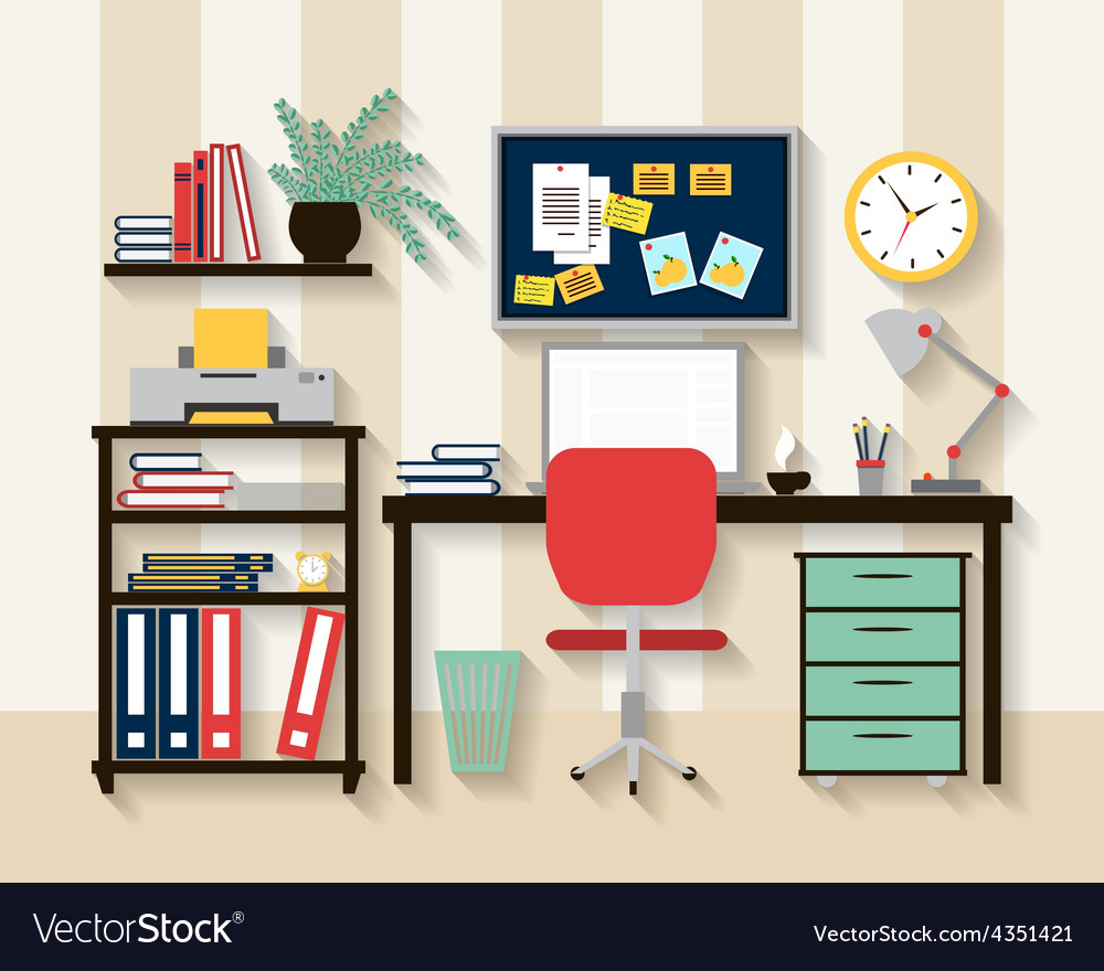Workplace in cabinet room interior vector | Price: 1 Credit (USD $1)