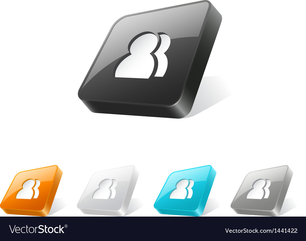 3d web button with users icon vector   Price: 1 Credit (USD $1)