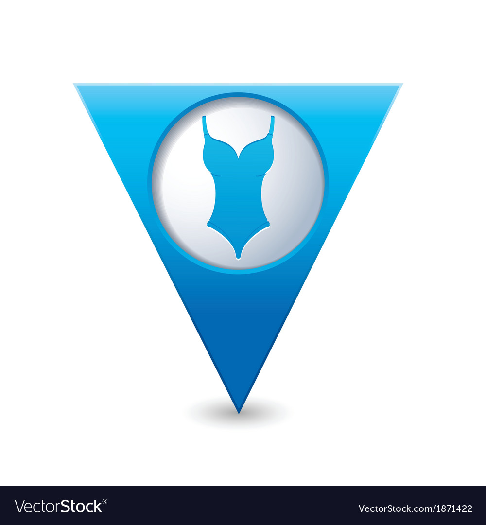 Bathing suit symbol map pointer blue vector | Price: 1 Credit (USD $1)