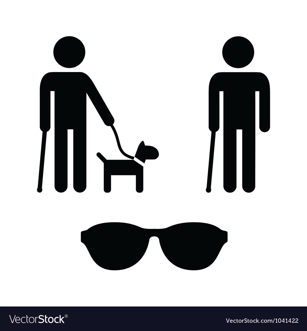 Blind man icons set - with guide dog cane vector | Price: 1 Credit (USD $1)