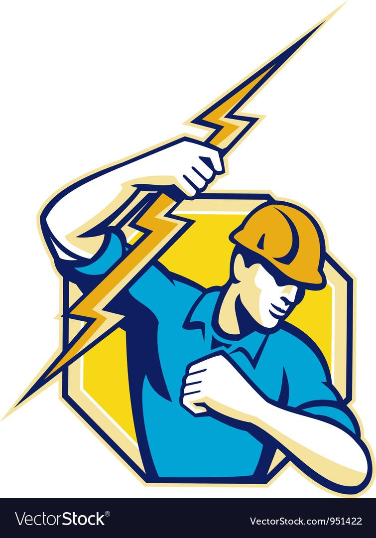 Electrician construction worker retro vector | Price: 1 Credit (USD $1)