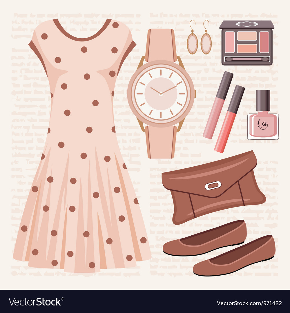 Gurfashion set in pastel tones with a dress vector | Price: 1 Credit (USD $1)