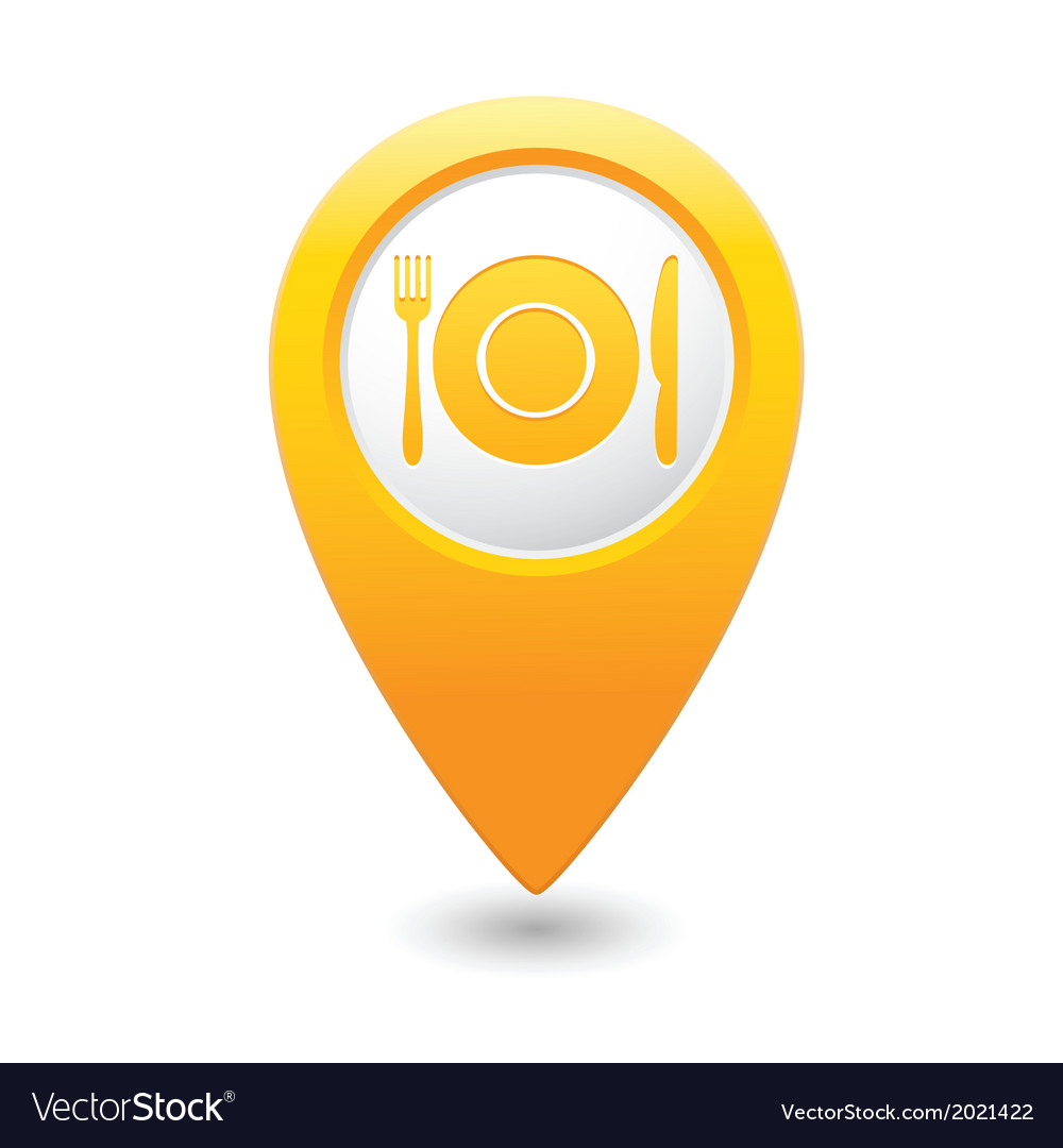 Restaurant icon yellow map pointer vector | Price: 1 Credit (USD $1)