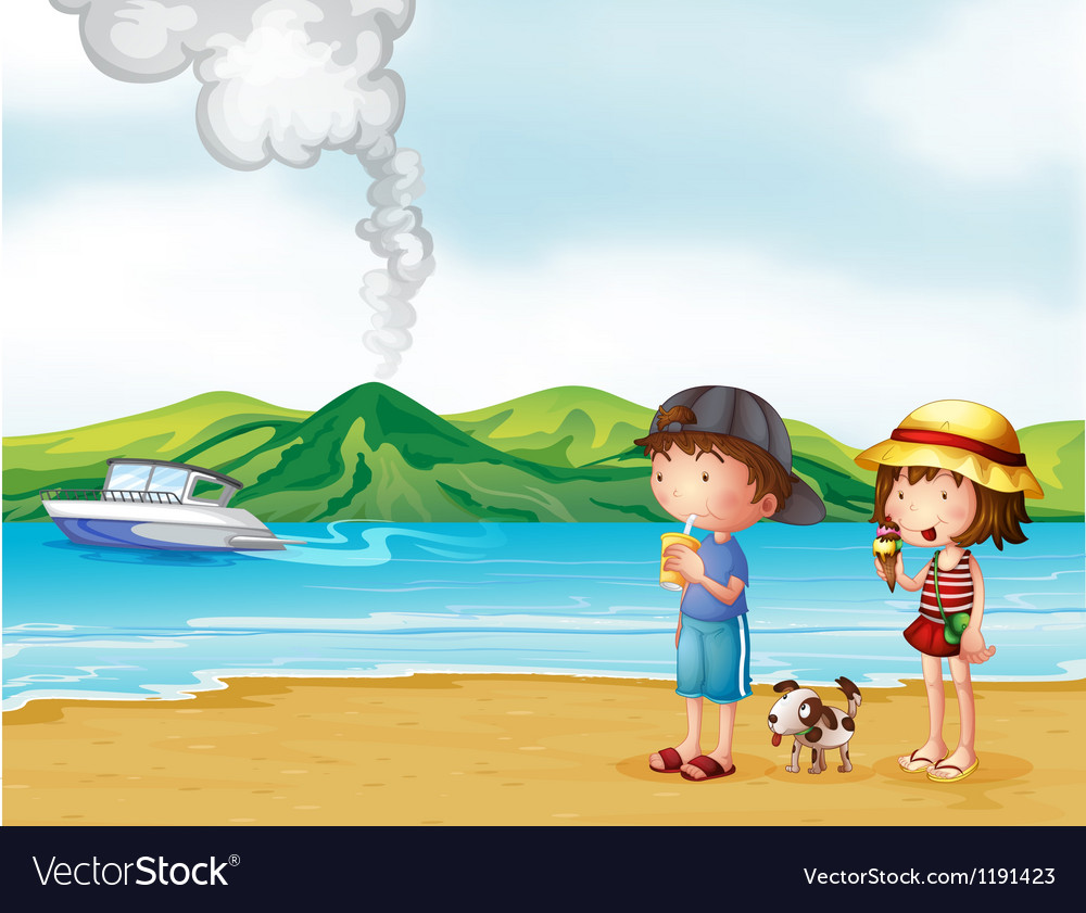 A young girl and a young boy strolling at the vector | Price: 1 Credit (USD $1)