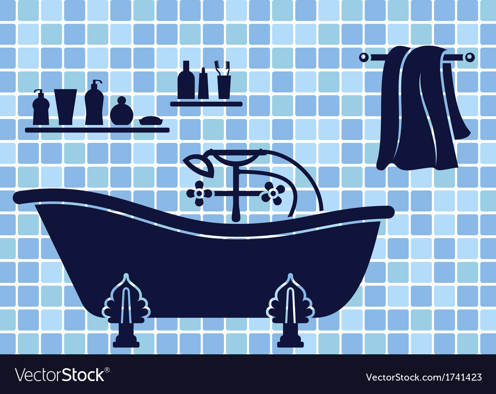 Blue bathroom interior vector | Price: 1 Credit (USD $1)
