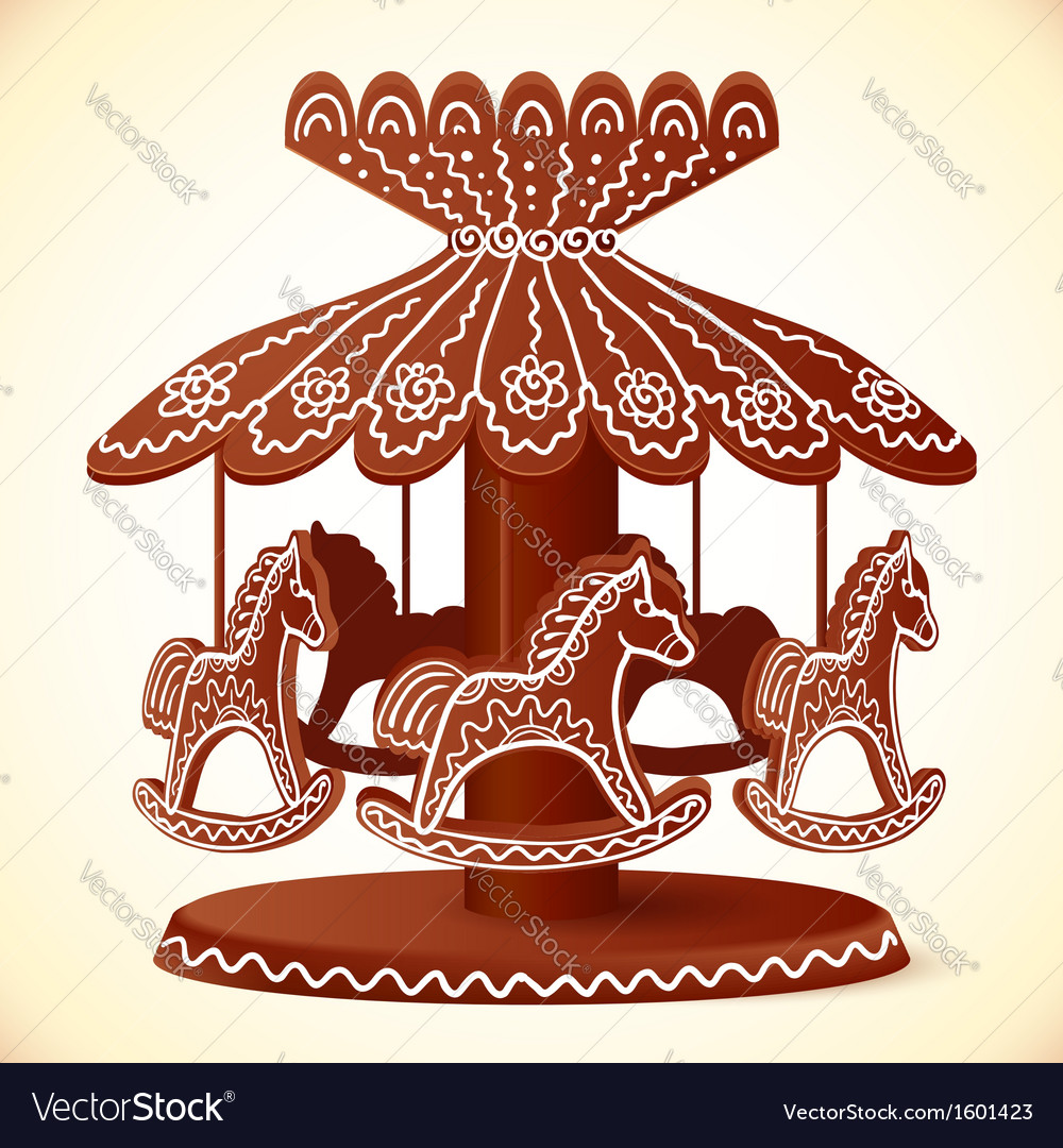 Christmas sweets toy horses chocolate carousel vector | Price: 1 Credit (USD $1)
