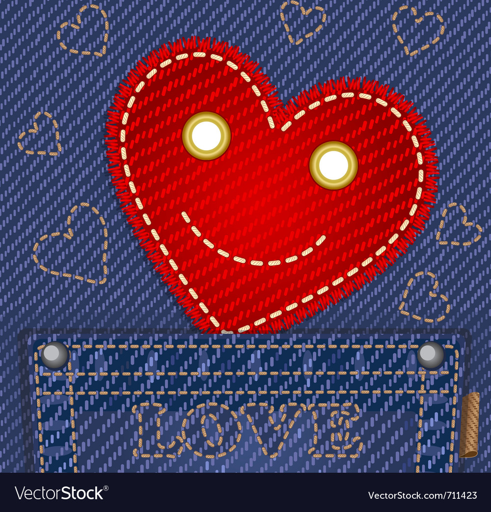 Cute smiling heart in jeans pocket vector   Price: 1 Credit (USD $1)