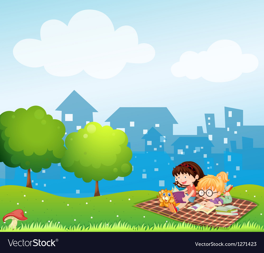 Girls reading at the hill across the village vector | Price: 1 Credit (USD $1)