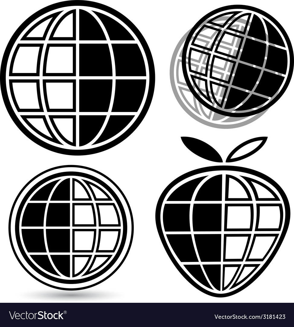 Globe logo set vector | Price: 1 Credit (USD $1)