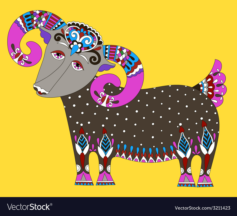 Goat symbol of 2015 year decorative drawing in vector | Price: 1 Credit (USD $1)