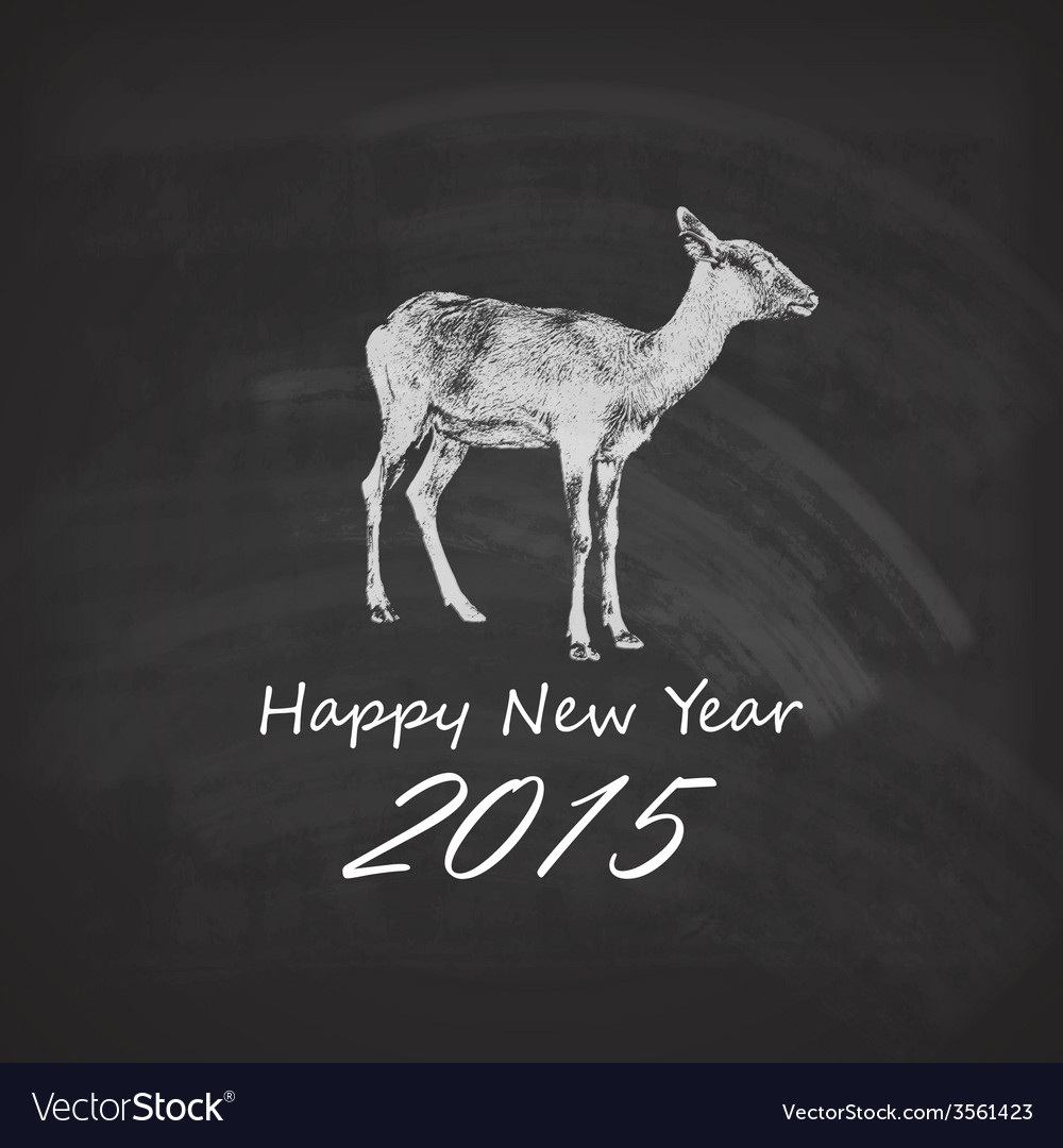 Holiday of a goat on the blackboard chalk te vector   Price: 1 Credit (USD $1)