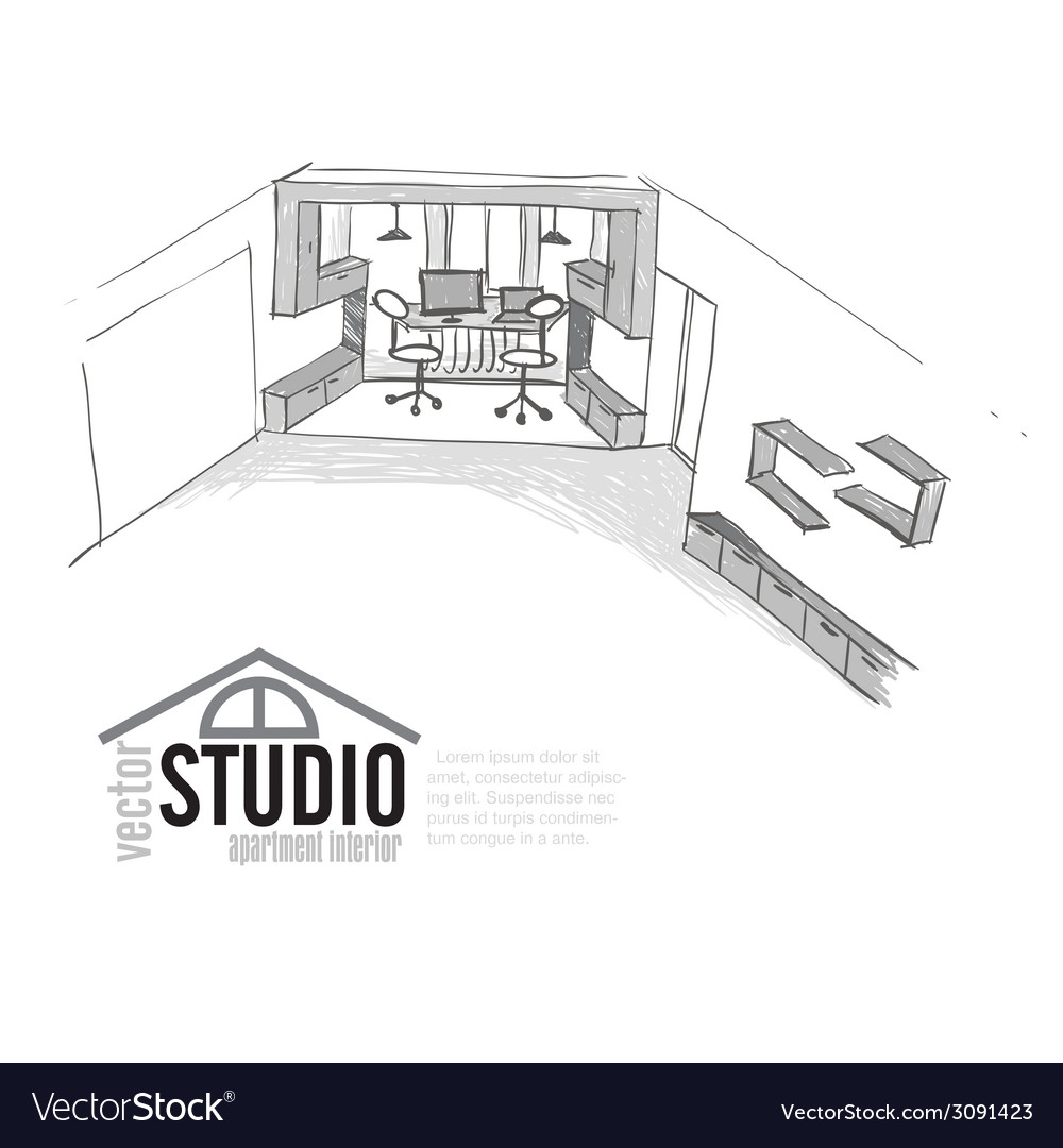 Home office interior sketch vector | Price: 1 Credit (USD $1)
