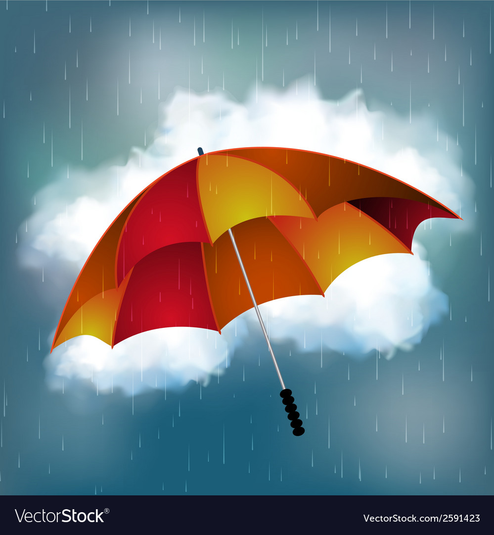 Rainy day and umbrella background vector
