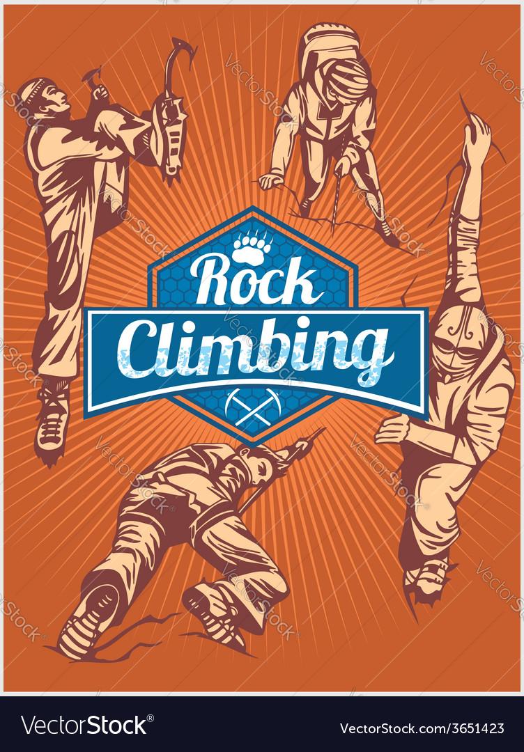 Rock climbing set - emblem and climbers vector | Price: 1 Credit (USD $1)
