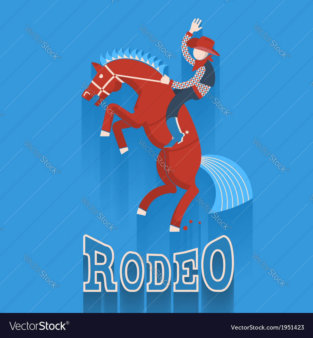 Rodeo postercowboy on horse with text vector | Price: 1 Credit (USD $1)