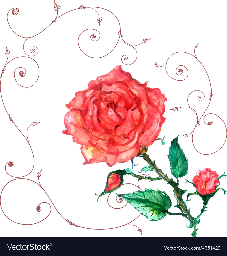 Rose in old style vector | Price: 1 Credit (USD $1)