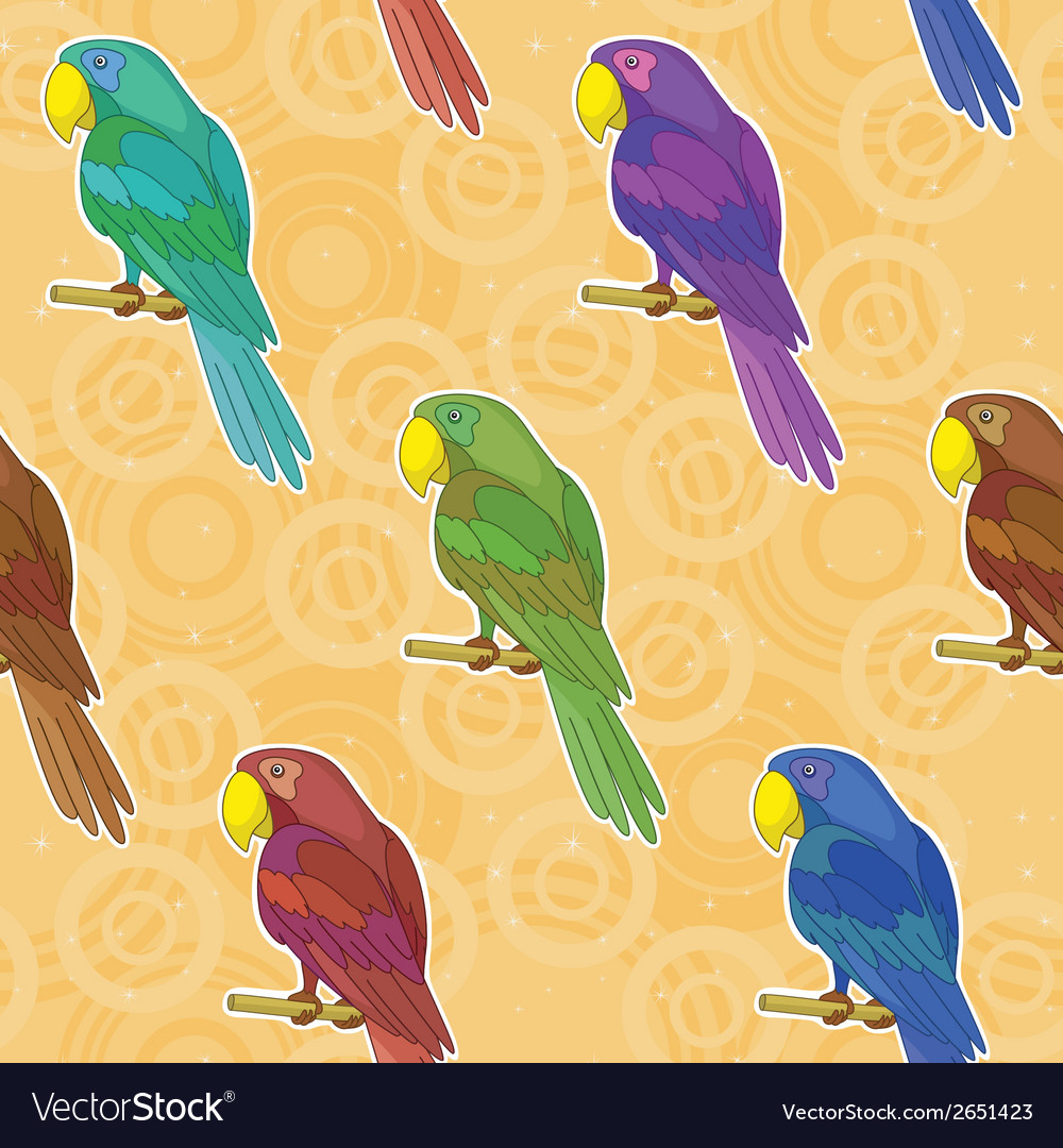 Seamless background colorful parrots vector | Price: 1 Credit (USD $1)