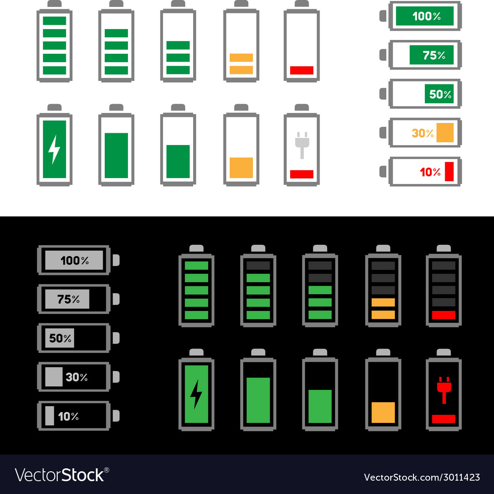 Simple battery icon set vector | Price: 1 Credit (USD $1)