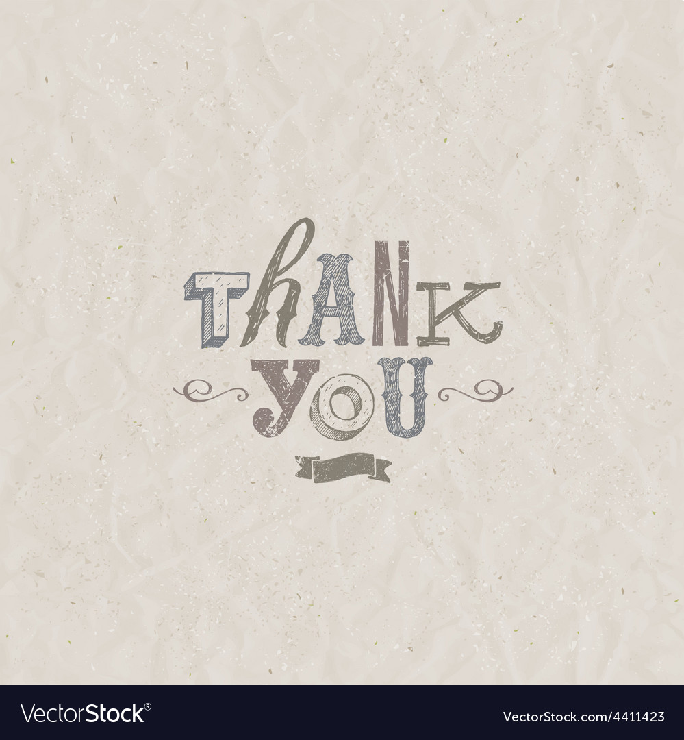 Thank you inscription hand drawn letters on a vector