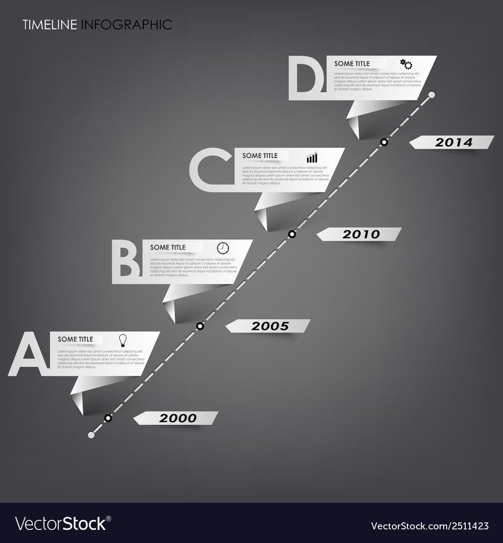 Time line info graphic white folded paper vector   Price: 1 Credit (USD $1)
