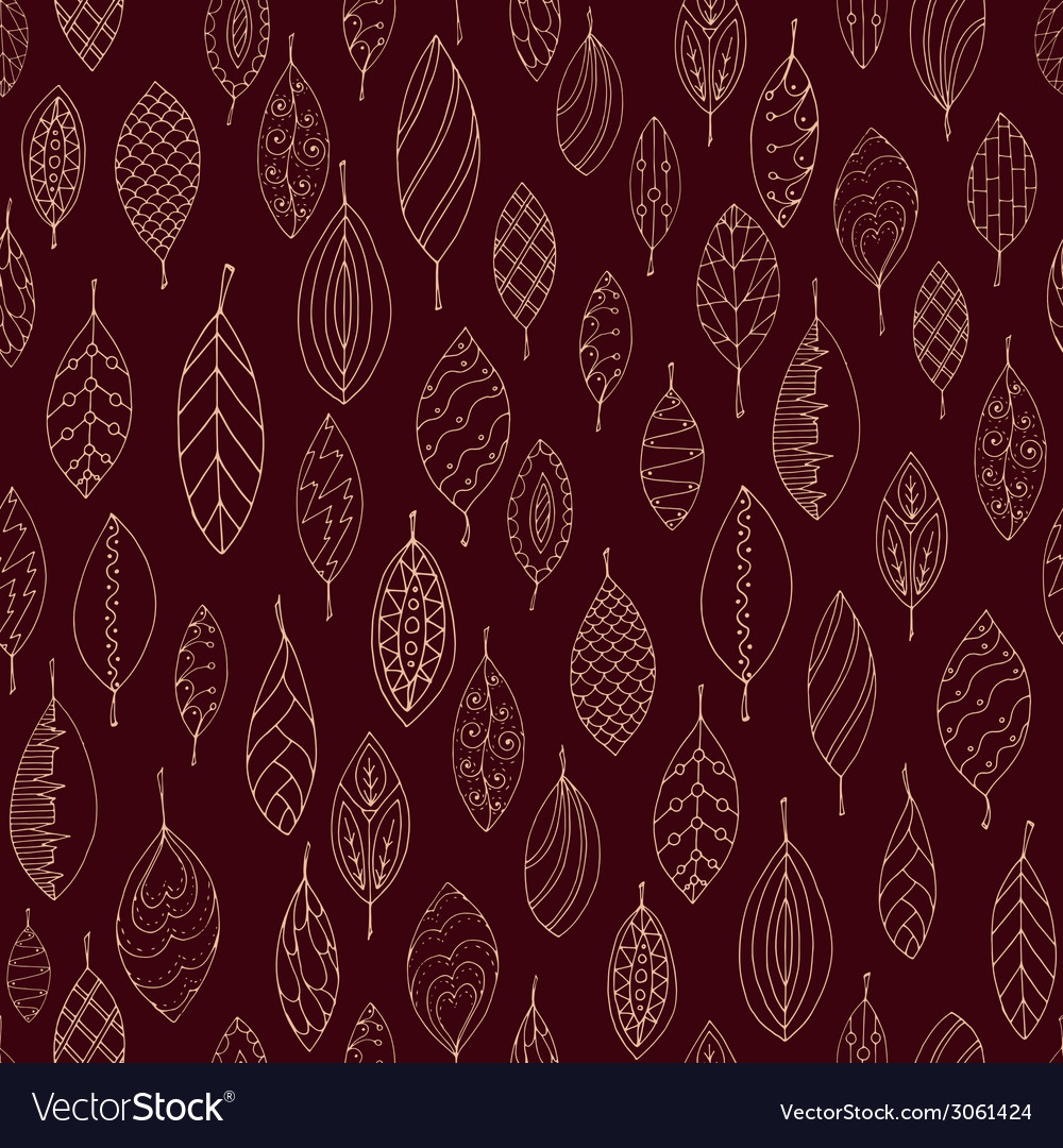 Autumn dark red seamless stylized leaf pattern in vector | Price: 1 Credit (USD $1)