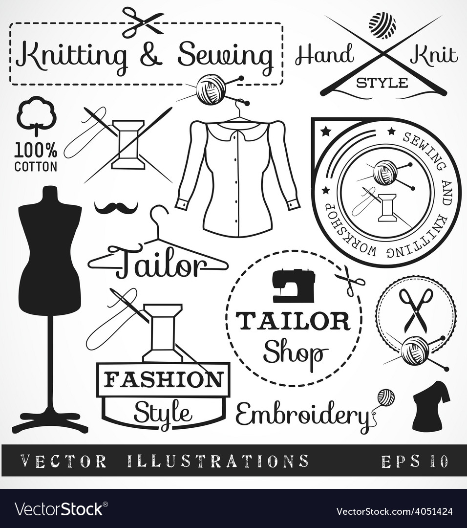 Badges and signs for tailor shop vector | Price: 1 Credit (USD $1)